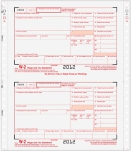 W-2 Continuous Form for Pin-Fed Printers and Typewriters